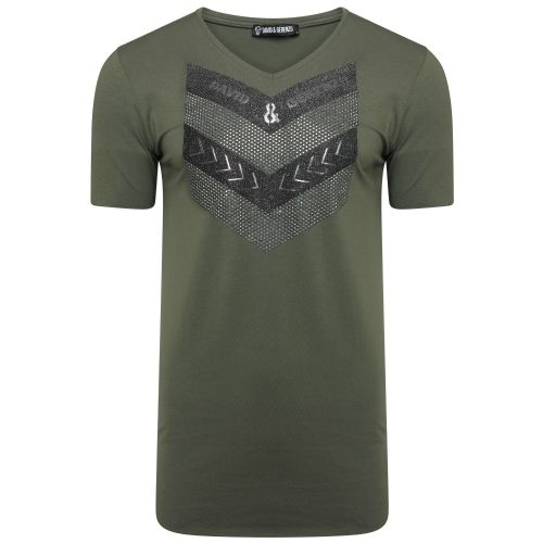 Mens Italian DG Designer V neck Camouflage Green Bling T Shirt Fitted Long
